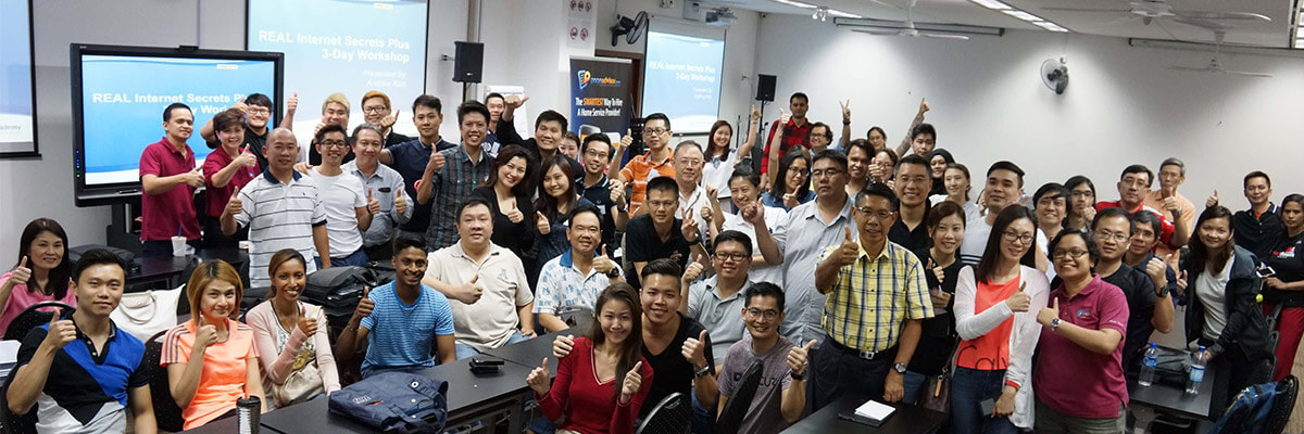 Internet Marketing Course - Real Internet Secrets Plus Trainer Andrew Koh and Students in Singapore